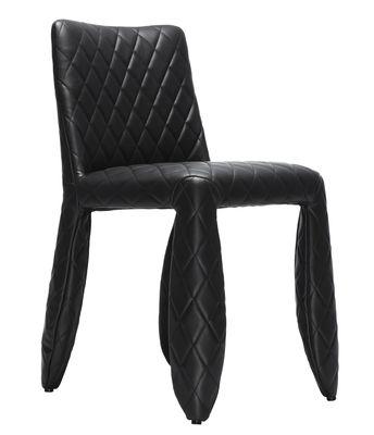 Möbel - Stühle  - Monster Gepolsterter Stuhl Modell unifarben - Moooi - Schwarz - uni - Cuir synthétique