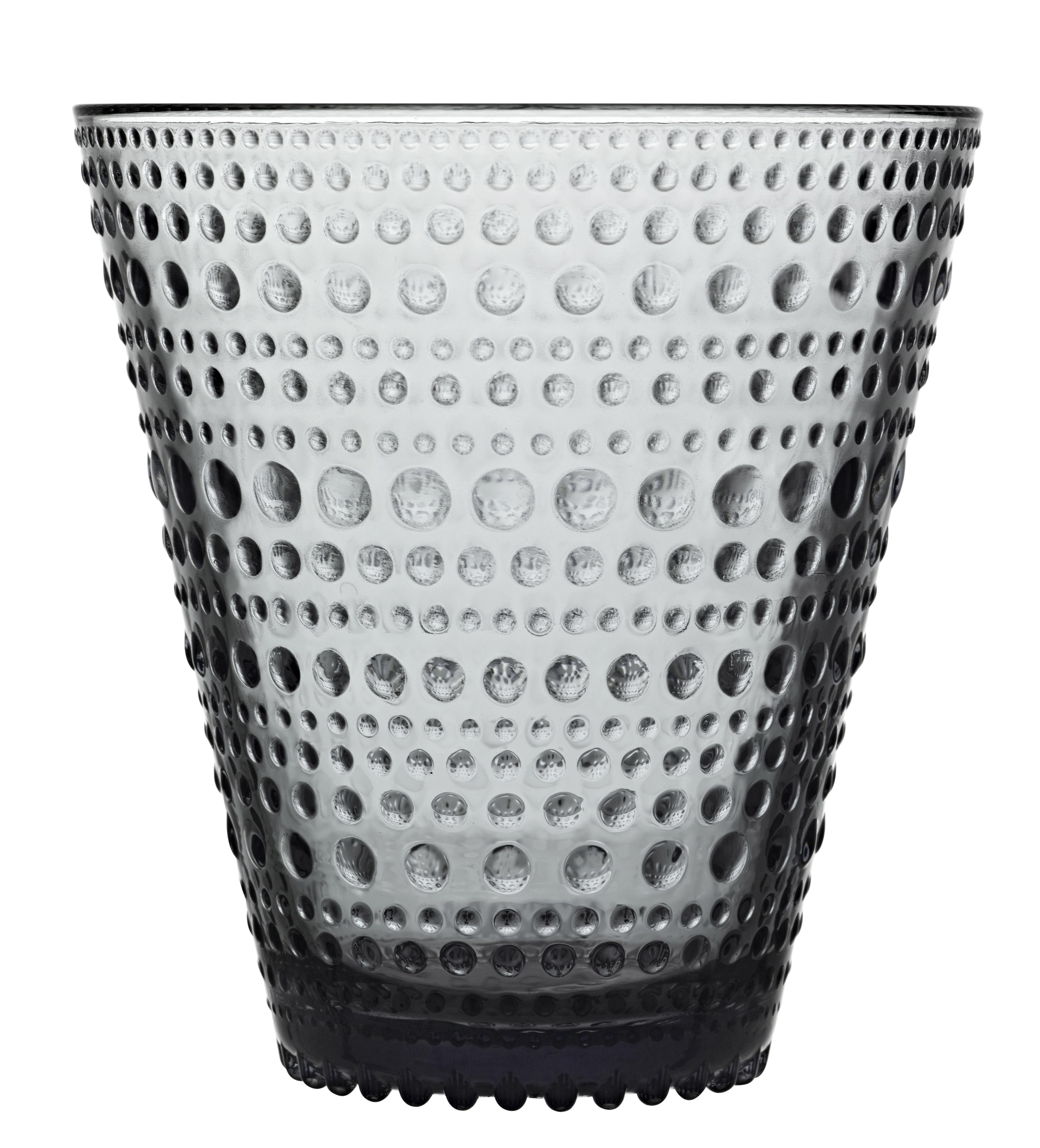 Tableware - Wine Glasses & Glassware - Kastehelmi Glass - Set of 2 glasses - 30 cl by Iittala - Grey - Pressed glass