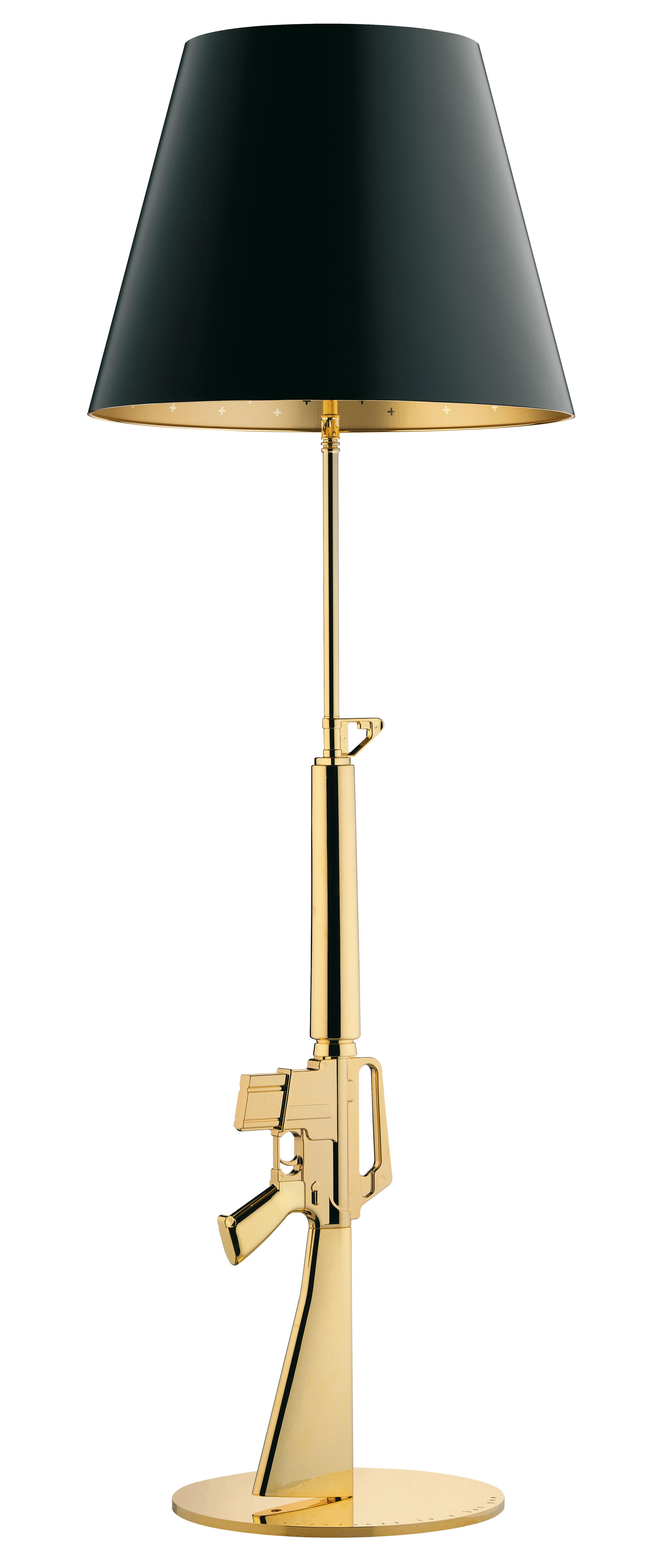 Luminaire - Lampadaires - Lampadaire Lounge Gun / H 169 cm - Or 18K - By Starck - Flos - Or 18K / Noir - Aluminium plaqué or 18 carats, Papier plastifié