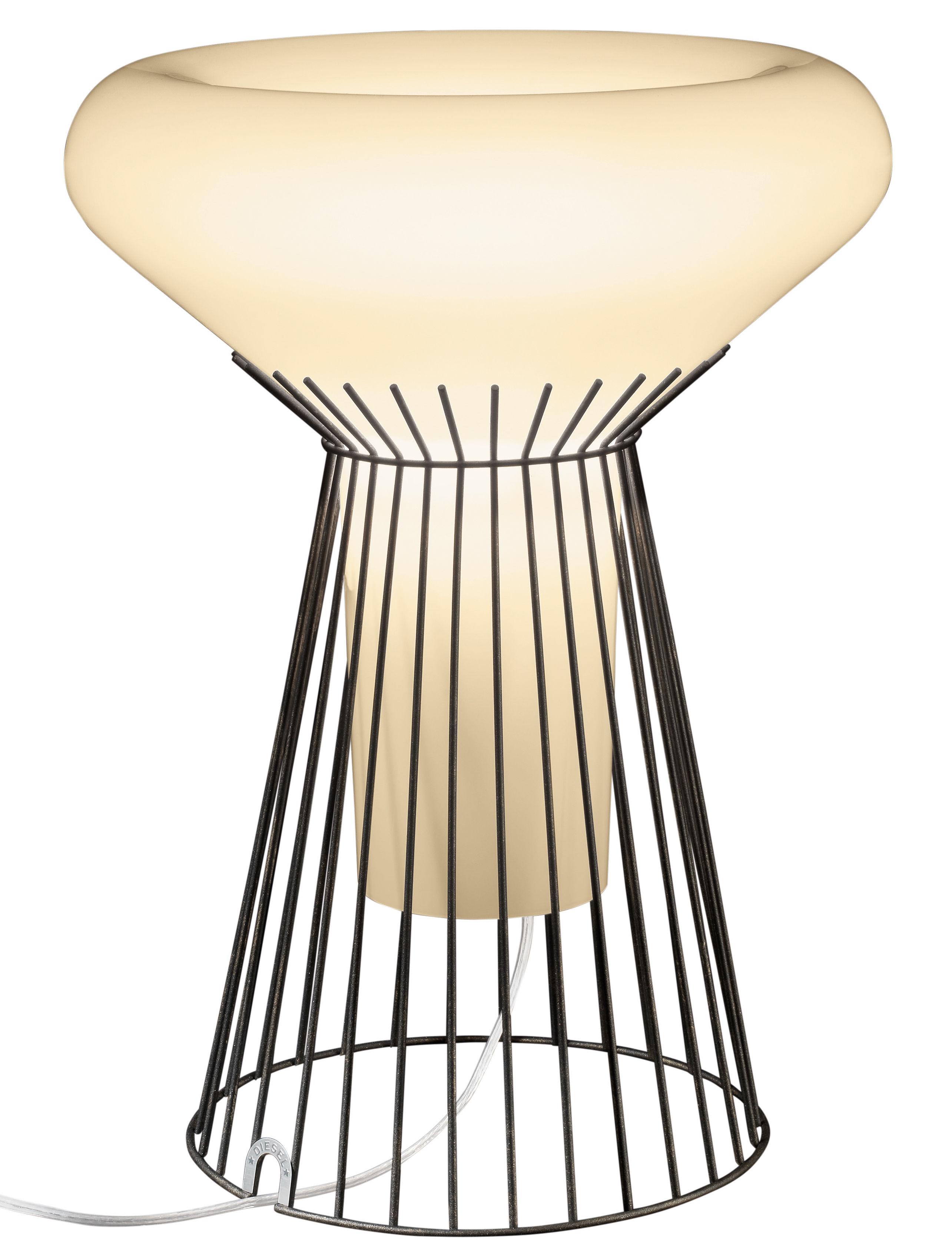 Luminaire - Lampes de table - Lampe de table Metafisica / H 51 cm - Diesel with Foscarini - Ivoire / Structure marron doré - Acier verni, Verre soufflé