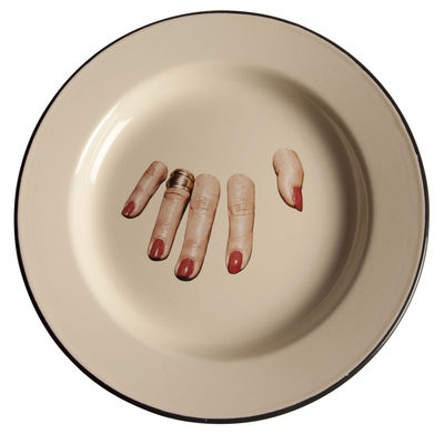 Tableware - Plates - Toiletpaper - Doigts coupés Plate by Seletti - Finger hand - Enamelled metal