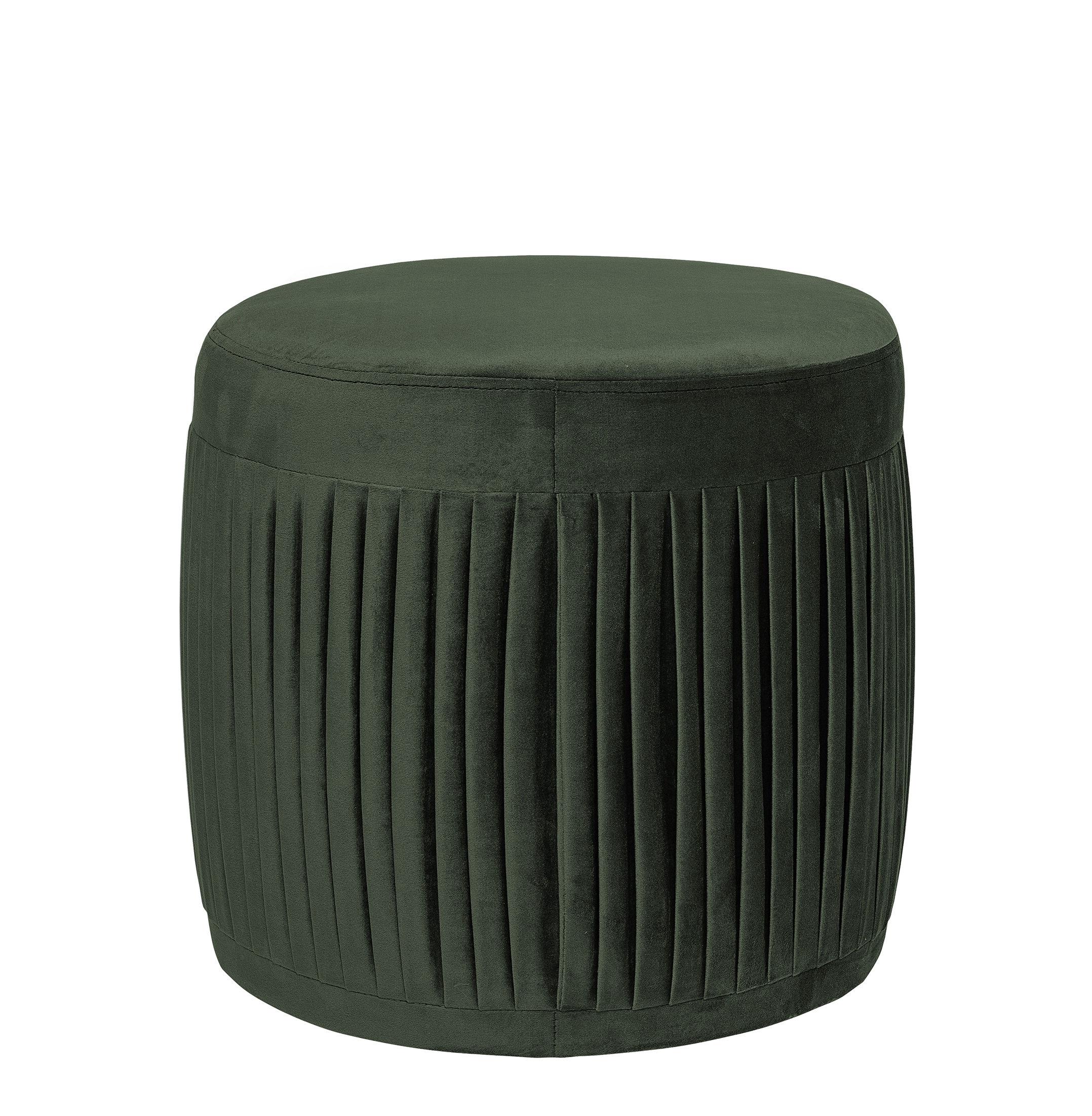 Mobilier - Poufs - Pouf Pleat / Velours plissé - Ø 40 x H 40 cm - Bloomingville - Vert foncé - Velours 100% polyester
