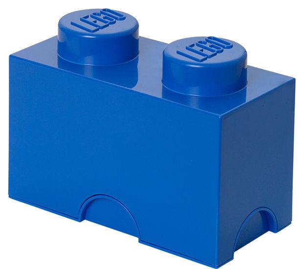 Interni - Per bambini - Scatola Lego® Brick - / 2 bottoncini - Impilabile di ROOM COPENHAGEN - Blu - Polipropilene