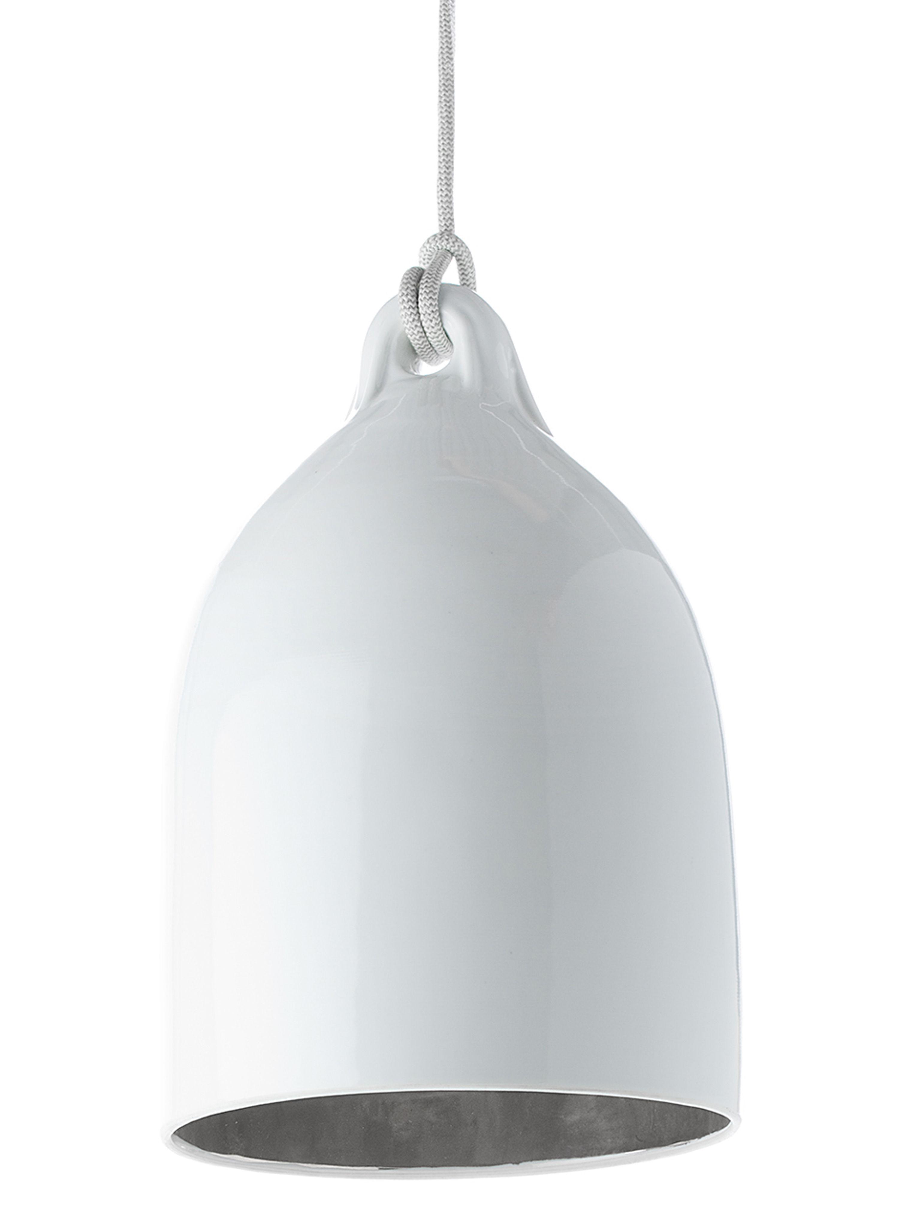 Illuminazione - Lampadari - Sospensione Bufferlamp - edizione limitata argento di Pols Potten - Bianco brillante & interno argento - Porcellana