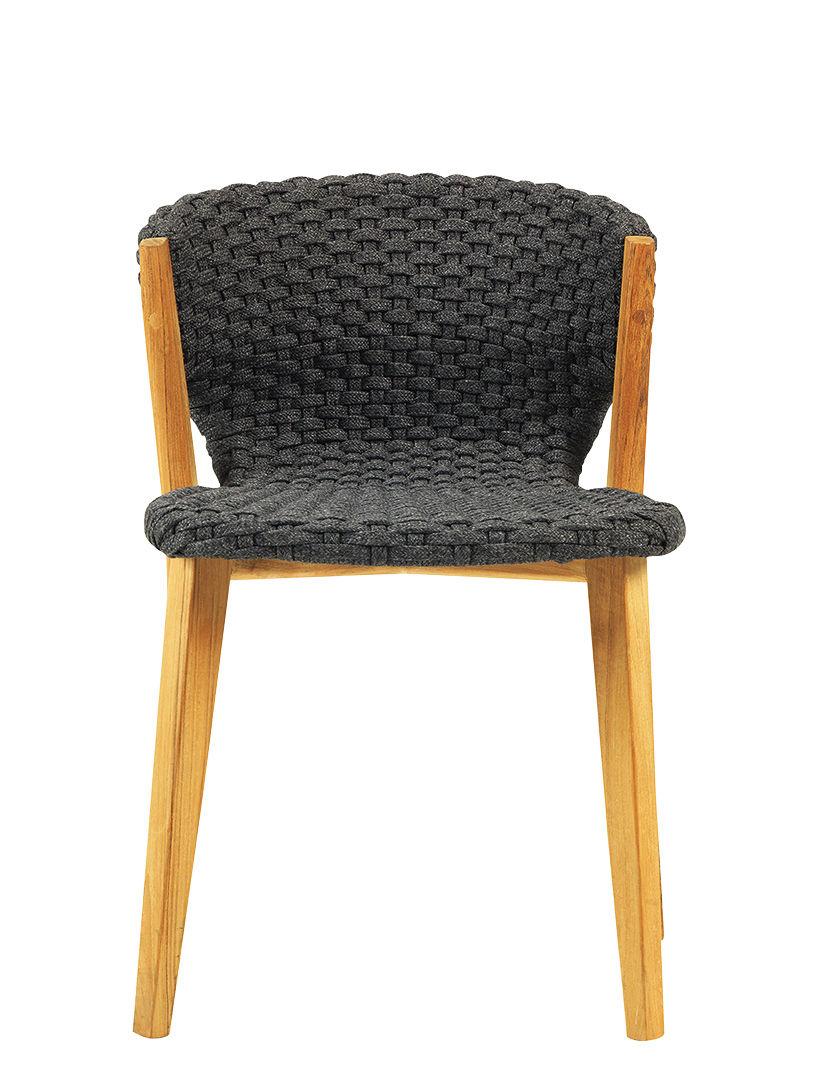 Möbel - Stühle  - Knit Stuhl / Synthetikfaden - Ethimo - Lavagrau / Teakholz - Natürliches Teakholz, Synthetisches Seil