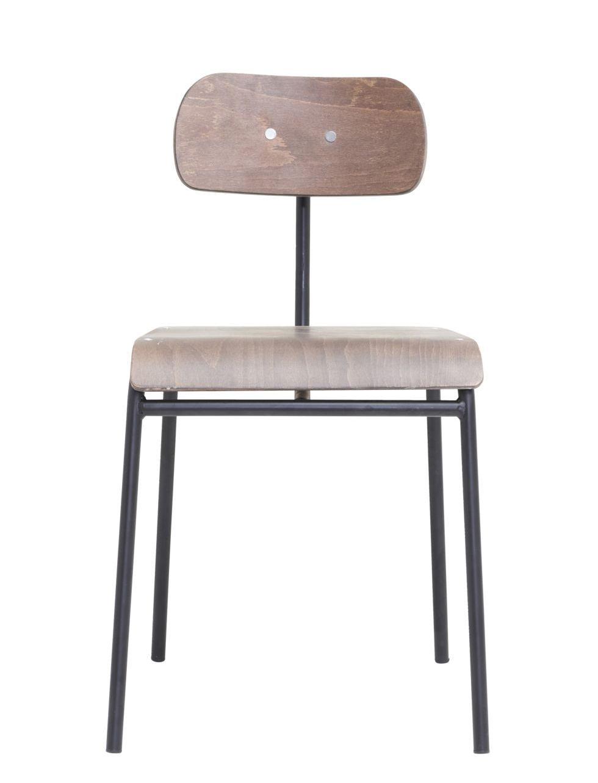 Möbel - Stühle  - School Stuhl / Holz & Metall - House Doctor - Dunkles Holz - Bois contreplaqué, Eisen