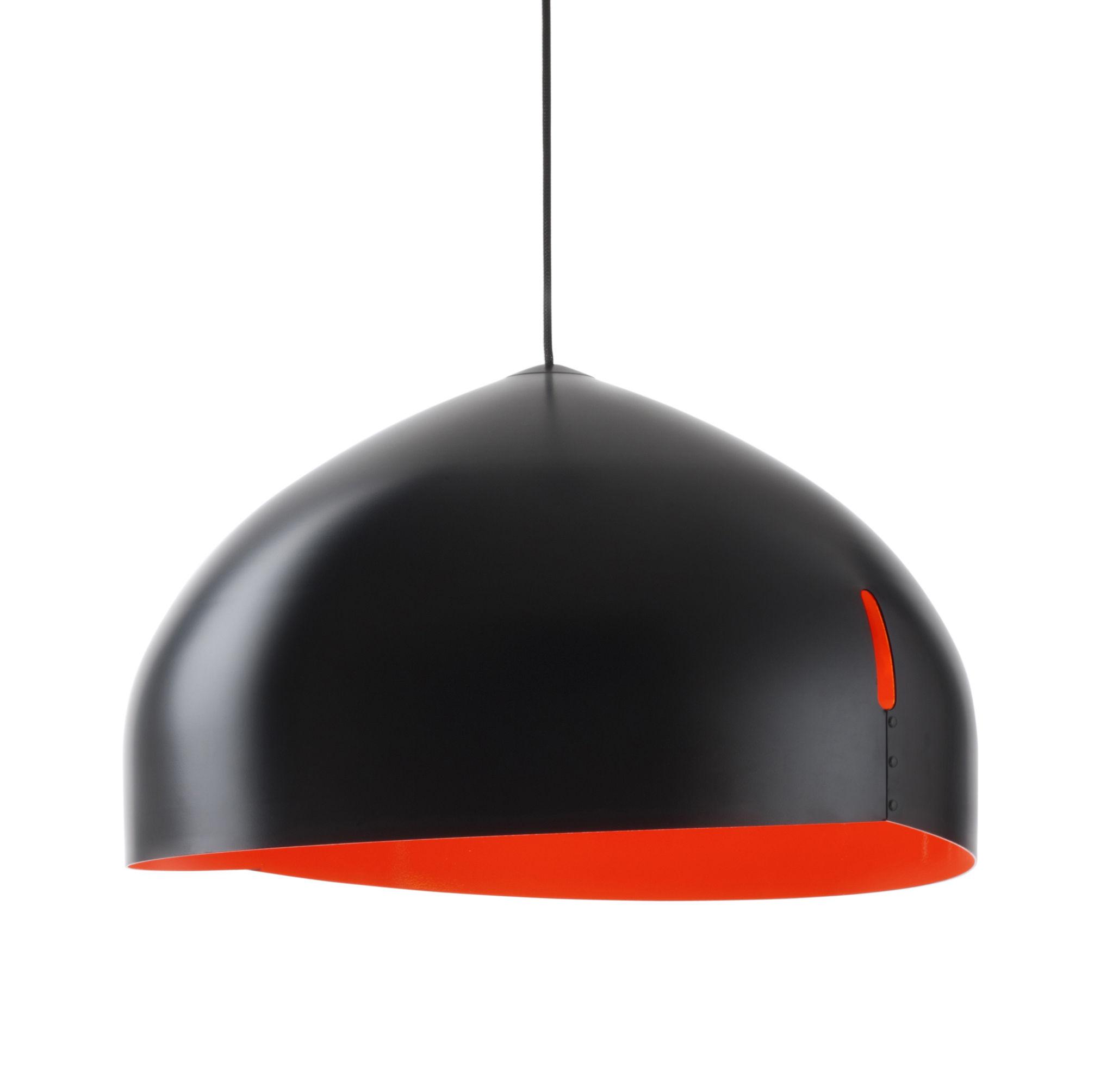 Luminaire - Suspensions - Suspension Oru / Ø 56 cm - Fabbian - Noir / intérieur Rouge - Aluminium peint
