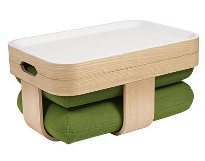 Mobilier - Compléments d'ameublement - Table basse Mister T transformable en pouf et repose-pieds - Made in design Editions by Oxyo - Vert - Contreplaqué de frêne, PMMA, Tissu