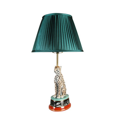 Lighting - Table Lamps - Leopard Table lamp - / Porcelain & satin by & klevering - Green satin / Multicoloured - China, Metal, Satin Fabric