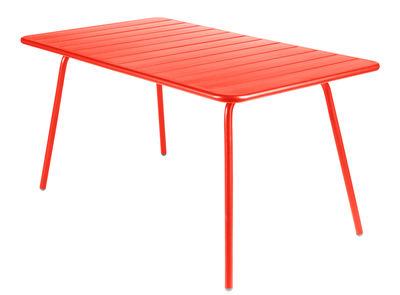 Table Luxembourg / 6 personnes - 143 x 80 cm - Aluminium - Fermob capucine en métal