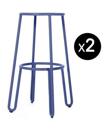 Mobilier - Tabourets de bar - Tabouret de bar Huggy / H 75 cm - Lot de 2 - Maiori - Bleu aube - Aluminium laqué époxy
