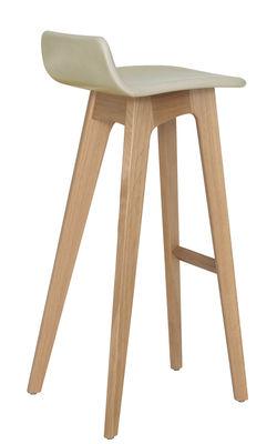 Mobilier - Tabourets de bar - Tabouret de bar Morph / Assise cuir - H 80 cm - Zeitraum - Structure chêne naturel / Revêtement cuir Beige / Couture frambo - Chêne massif, Cuir