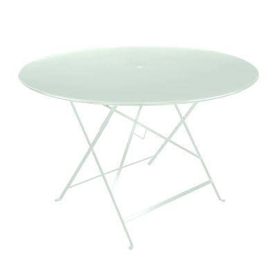 Outdoor - Tavoli  - Tavolo pieghevole Bistro - / Ø 117 cm - Foro ombrellone di Fermob - Menta glaciale - Acciaio laccato
