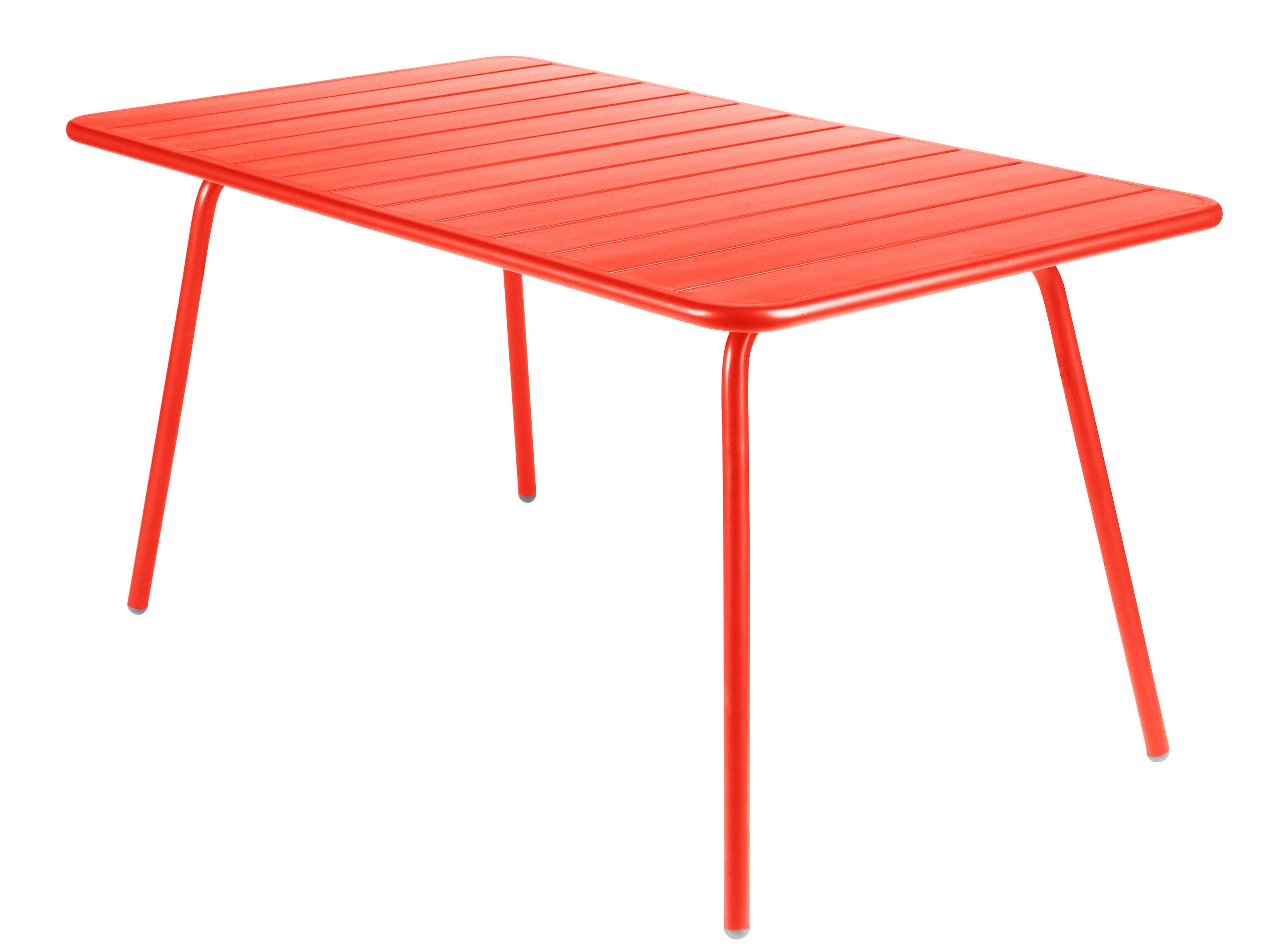 Life Style - Tavolo rettangolare Luxembourg - / 6 persone - L 143 cm di Fermob - Nasturzio - Alluminio laccato