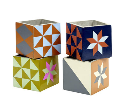 Interni - Vasi e Piante - Vaso Marie Small / Set da 4 -  Piastrelle di cemento - Serax - Small - 11 cm / Multicolore - Cemento smaltato