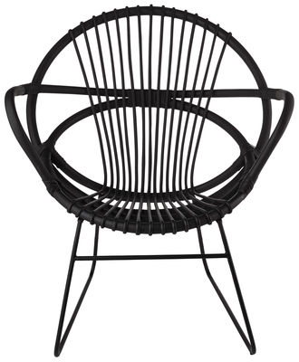 Furniture - Armchairs - Singapore Armchair by Pols Potten - Black / Rattan / Powder coated feet  - Painted metal, Rattan