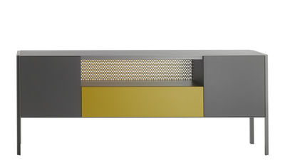 Buffet Heron / Bas - L 200 x H 80 cm - MDF Italia jaune/gris en métal/bois
