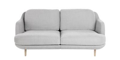 Furniture - Sofas - Lune 2 seater sofa - Fabric & oak by Fritz Hansen - Grey / Oak - Cotton, Oak