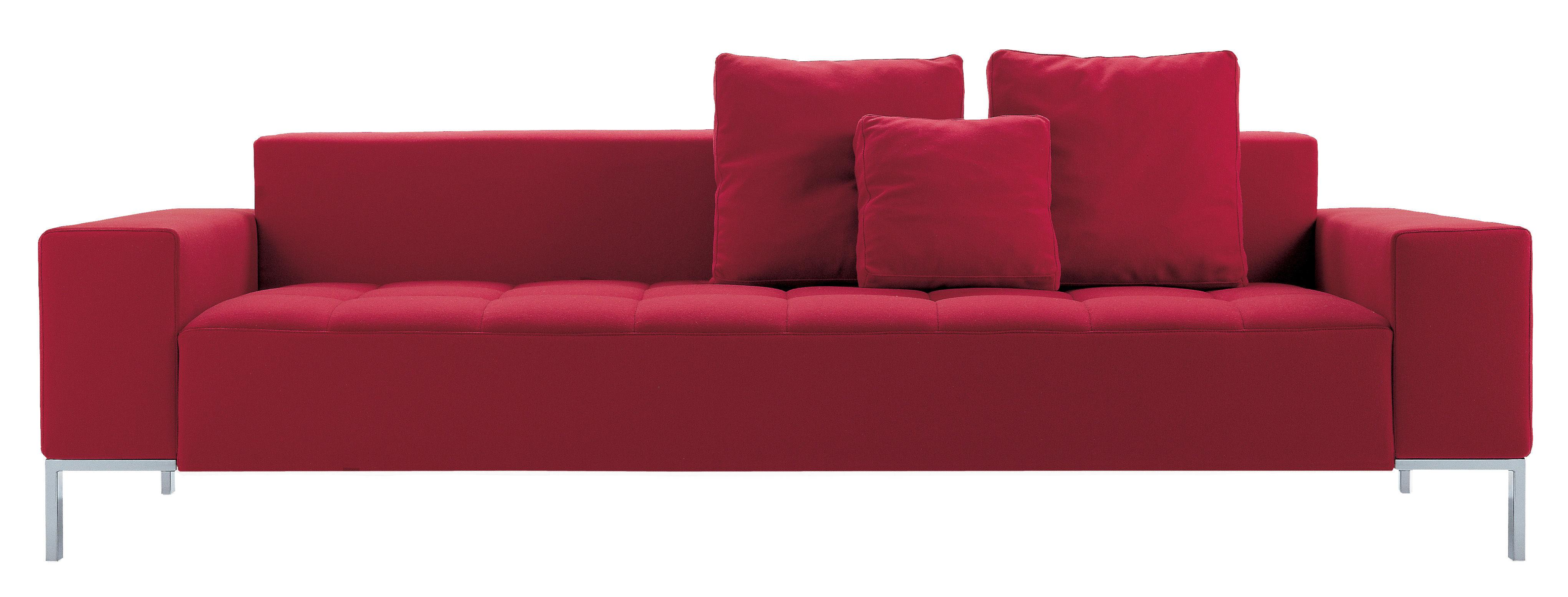 Mobilier - Canapés - Canapé droit Alfa / 3 places - L 207 cm - Zanotta - Tissu - Rouge - Acier chromé, Coton