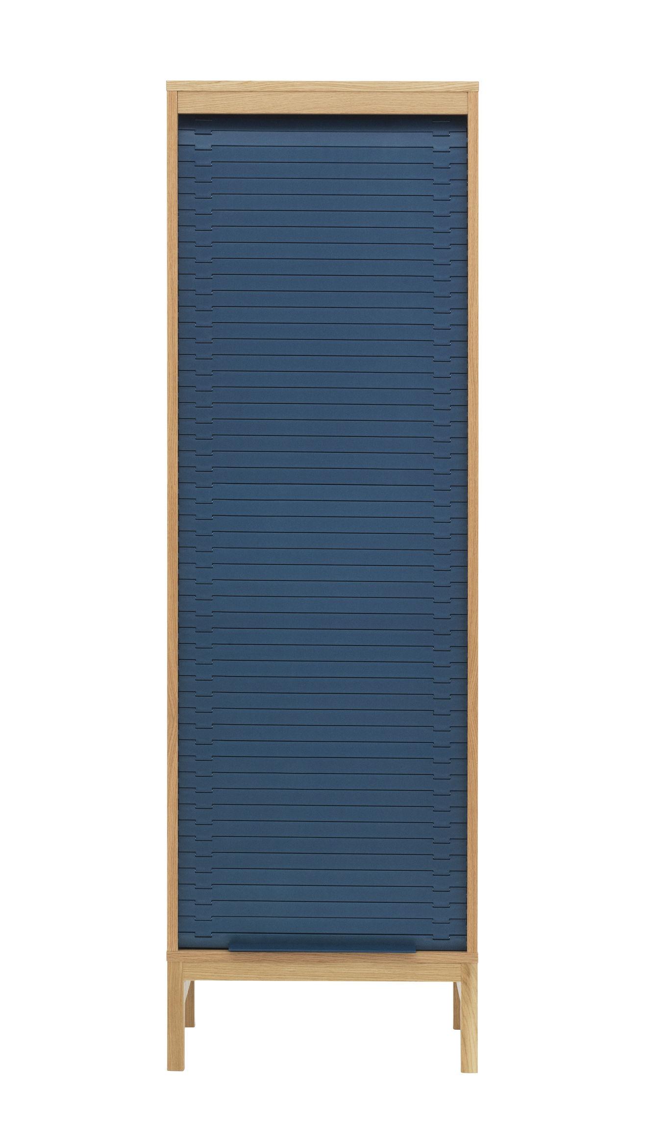 Arredamento - Raccoglitori - Cassettiera Jalousi Haut - / H 180 cm -  Legno & tenda plastica di Normann Copenhagen - Blu scuro / Legno - MDF rivestito in rovere, Plastica, Rovere massello