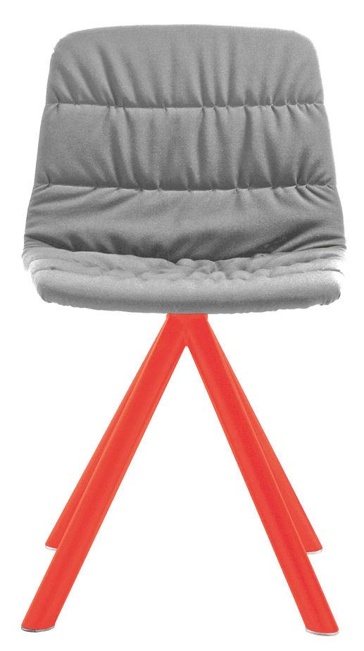 Mobilier - Chaises, fauteuils de salle à manger - Chaise pivotante Maarten / Rembourrée & pieds métal - Viccarbe - Gris Clair / Pieds : Orange fluo - Acier laqué, Bois contreplaqué, Mousse de polyuréthane, Tissu