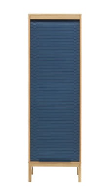 Furniture - Shelves & Storage Furniture - Jalousi Haut Chest of drawers - / H 180 cm - Wood & plastic curtain by Normann Copenhagen - Dark blue / Wood - MDF veneer oak, Plastic, Solid oak
