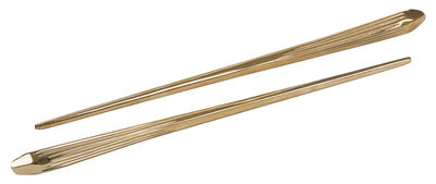 Tableware - Cutlery - Cosmic Dinner Quasar Chopsticks - Set of 2 by Diesel living with Seletti - Shinny brass - Brass