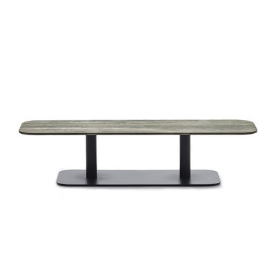 Furniture - Coffee Tables - Kodo Coffee table - / 129 x 45 cm - Ceramic by Vincent Sheppard - Beige ceramic / Fossil grey - Ceramic, Thermolacquered aluminium