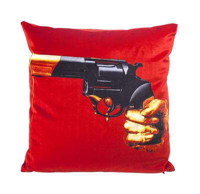 Interni - Cuscini  - Cuscino Toiletpaper - / Revolver - 50 x 50 cm di Seletti - Revolver / Rosso - Piuma, Tessuto poliestere