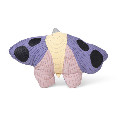 Decoration - Children's Home Accessories - Moth Cushion - / Quilted fabric -47 x 32 cm by Ferm Living - Multicoloured - Organic cotton