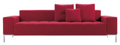 Arredamento - Divani moderni - Divano destro Alfa - 3 posti di Zanotta - Tessuto - Rosso - Acciaio cromato, Cotone