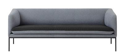 Arredamento - Divani moderni - Divano destro Turn - / L 200 cm - 3 posti di Ferm Living - Grigio chiaro / Grigio scuro - Cotone, Espanso, metallo laccato, Poliestere