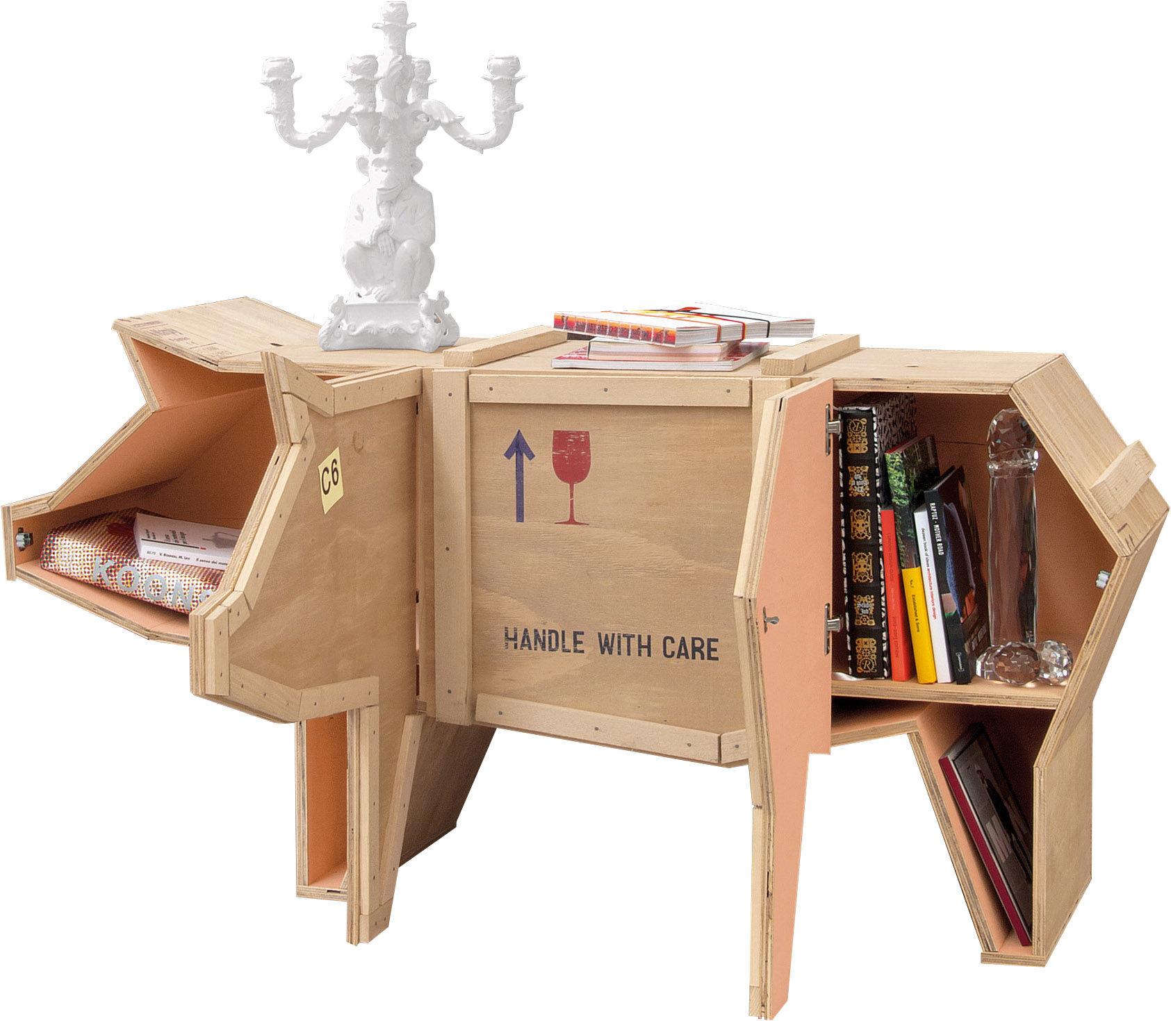 Furniture - Dressers & Storage Units - Sending animals Cochon Dresser - Wooden pig - W 150 cm x H 76 cm by Seletti - Natural wood - Wood