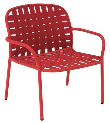 Mobilier - Fauteuils - Fauteuil bas Yard / Sangles élastiques - Emu - Rouge - Aluminium verni, Sangles élastiques