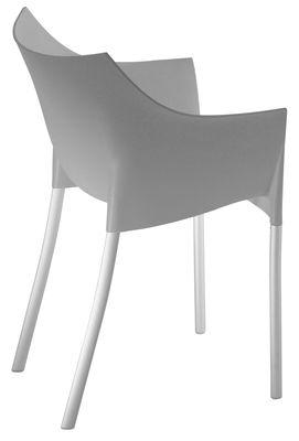 Mobilier - Chaises, fauteuils de salle à manger - Fauteuil empilable Dr. No / Plastique & pieds métal - Kartell - Gris chaud moyen - Aluminium, Polypropylène