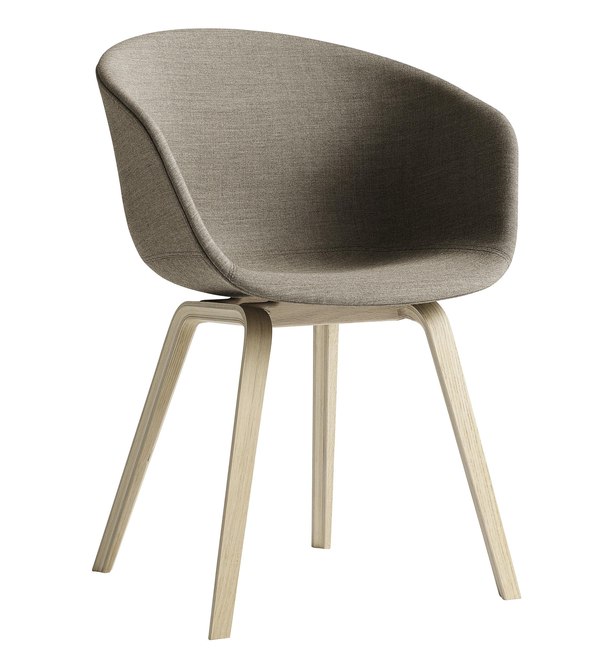 Mobilier - Chaises, fauteuils de salle à manger - Fauteuil rembourré About a chair / Tissu intégral & pieds bois - Hay - Tissu beige / Pieds bois naturel - Chêne, Polypropylène, Tissu