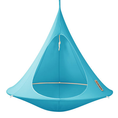 Outdoor - Sun Loungers & Hammocks - Hanging armchair - Double Hanging chair by Cacoon - Turquoise - Cloth