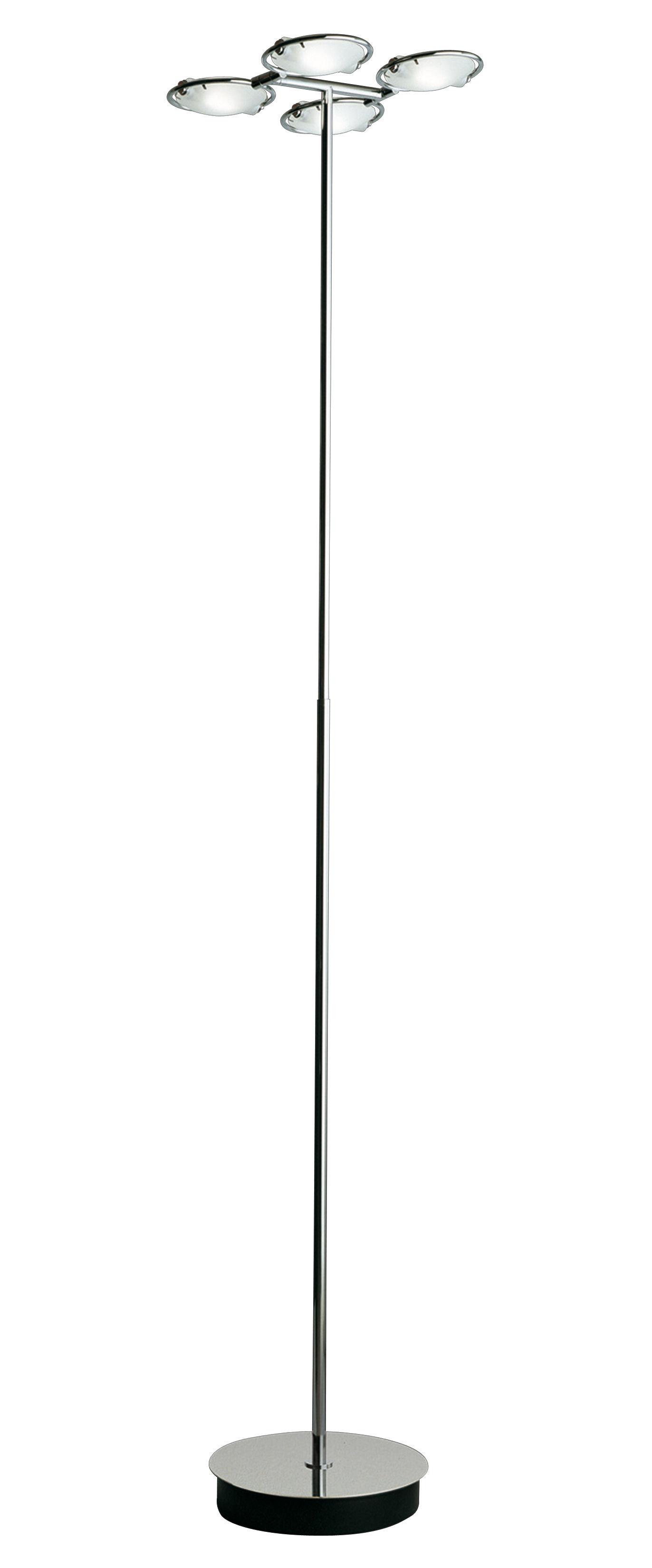 Illuminazione - Lampade da terra - Lampada a stelo Nobi - 4 diffusori di Fontana Arte - Cromo - Metallo cromato, Vetro