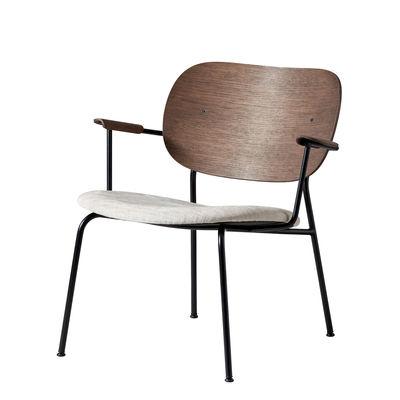 Furniture - Armchairs - Co Lounge Low armchair - / Wood & fabric - Padded seat by Menu - Dark oak / Beige fabric - Foam, Kvadrat fabric, Lacquered steel, Oak plywood