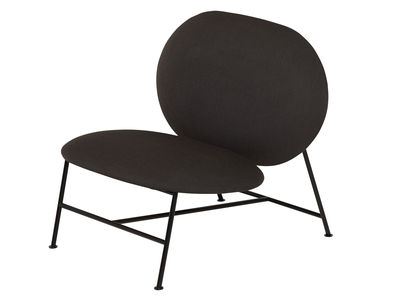 Furniture - Armchairs - Oblong Low armchair - / Padded by Northern  - Dark grey - Fabric, Foam, Lacquered steel
