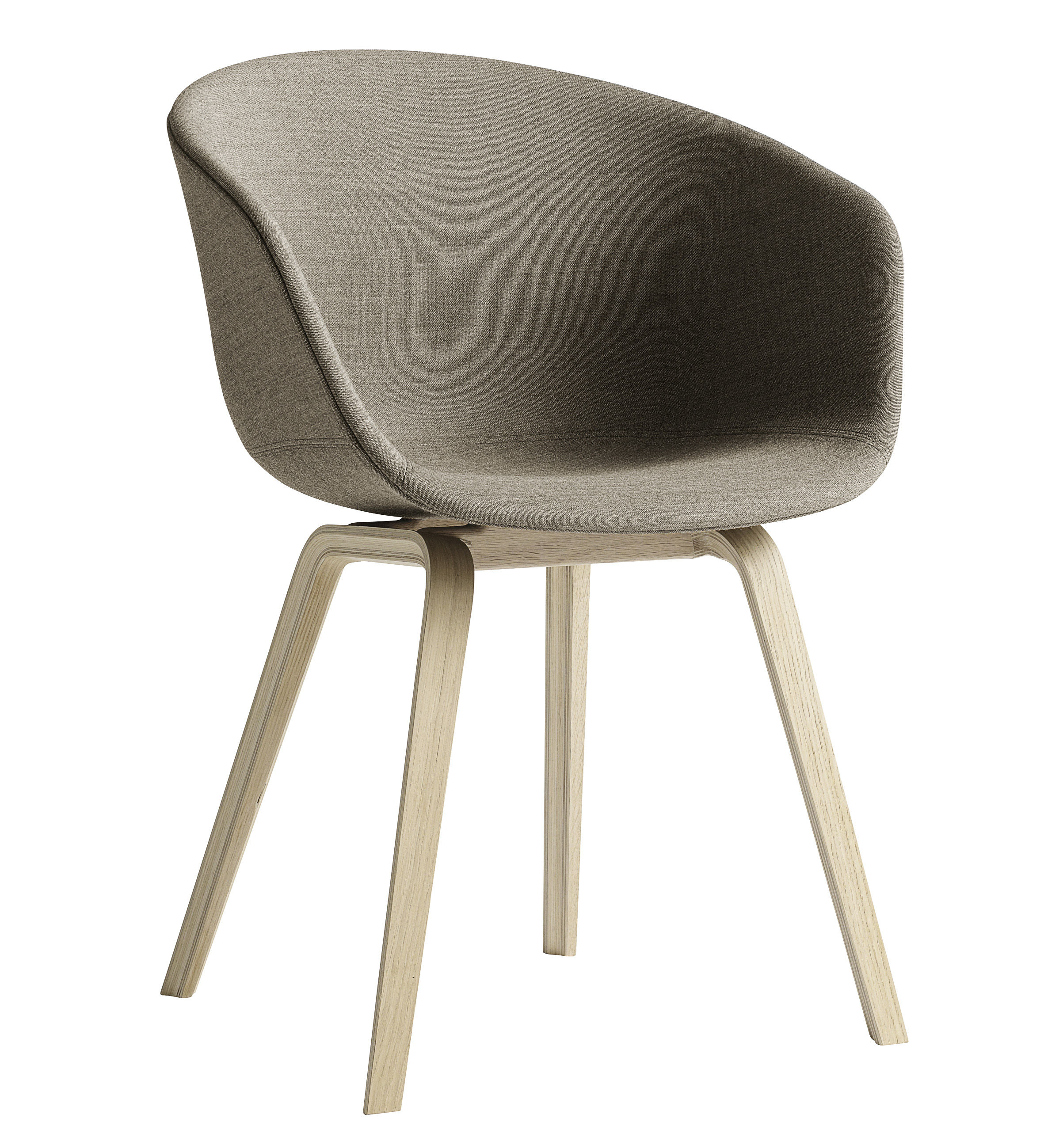 Furniture - Chairs - About a chair AAC23 Padded armchair - 4 legs /Full fabric by Hay - Beige / Natural oak feet - , Fabric, Foam, Polypropylene
