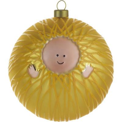 Interni - Oggetti déco - Palle di Natale Gesù Bambino - /Gesù Bambino di A di Alessi - Gesù Bambino - Giallo & Rosa - Vetro soffiato a bocca