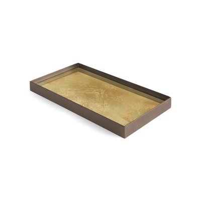 Image of Piano/vassoio Gold leaf - / Svuota-tasche - 31 x 17 cm - Metallo & vetro di Ethnicraft - Oro - Vetro