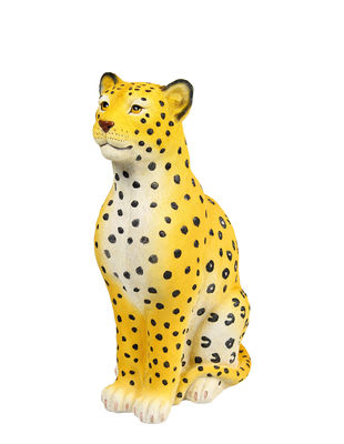 Decoration - Children's Home Accessories - Léopard Piggy bank - / H 29 cm by & klevering - Yellow - Polyresin