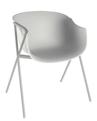 Image of Poltrona Bai / Guscio Plastica - 4 piedi Metallo - Ondarreta - Grigio - Metallo/Materiale plastico