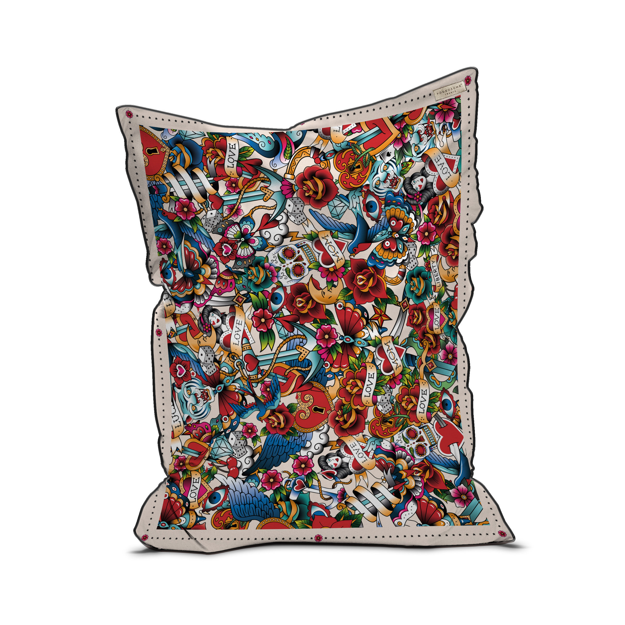 Furniture - Poufs & Floor Cushions - Tatoo Pouf - / Velvet - 115 x 145 cm by PÔDEVACHE - Multi-Tattoo / Multicoloured - EPS balls, Fabric, Velvet