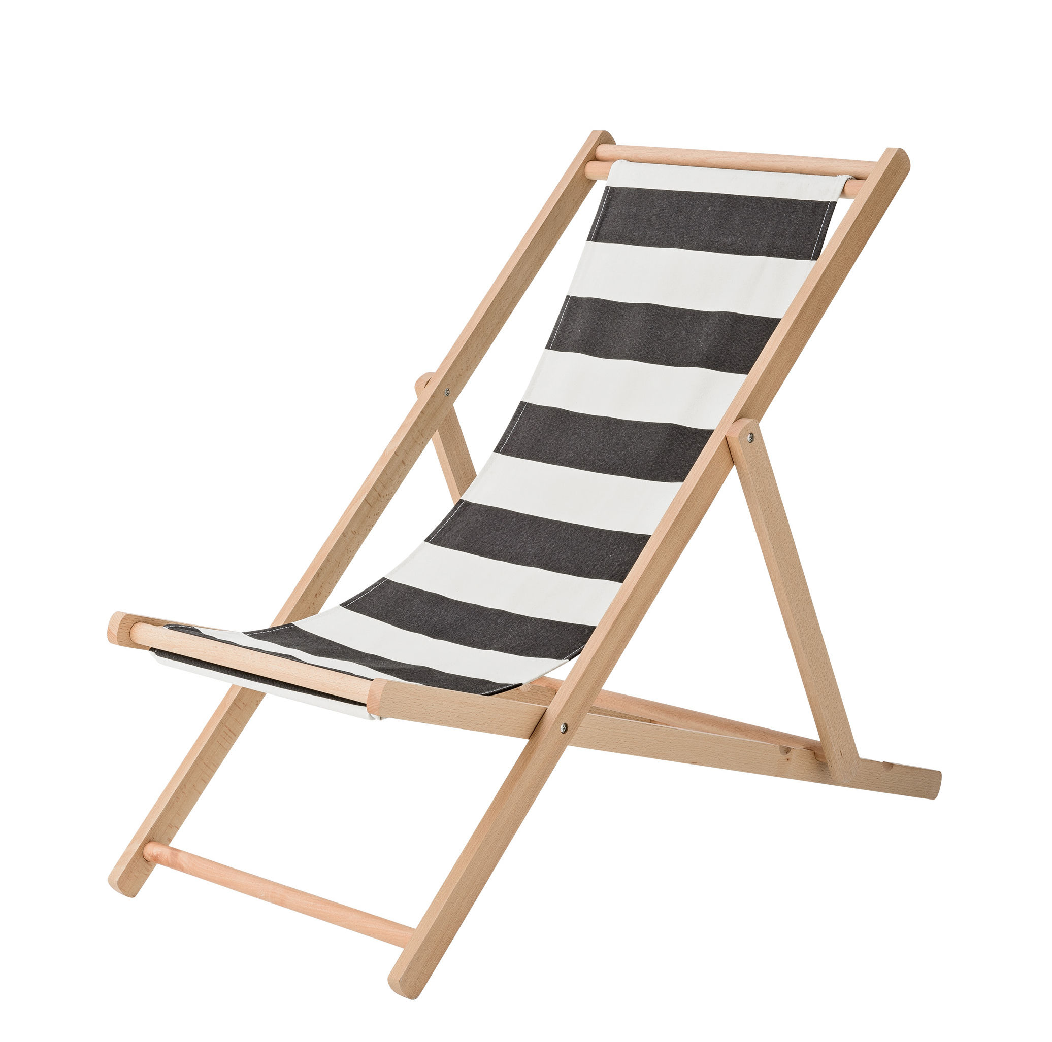 Outdoor - Sun Loungers & Hammocks - Reclining chair - / Folding & adjustable by Bloomingville - Black stripes - Cotton, Natural beechwood
