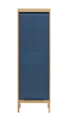 Mobilier - Meubles de rangement - Semainier Jalousi Haut / H 180 cm -  Bois & rideau plastique - Normann Copenhagen - Bleu foncé / Bois - Chêne massif, MDF plaqué chêne, Plastique