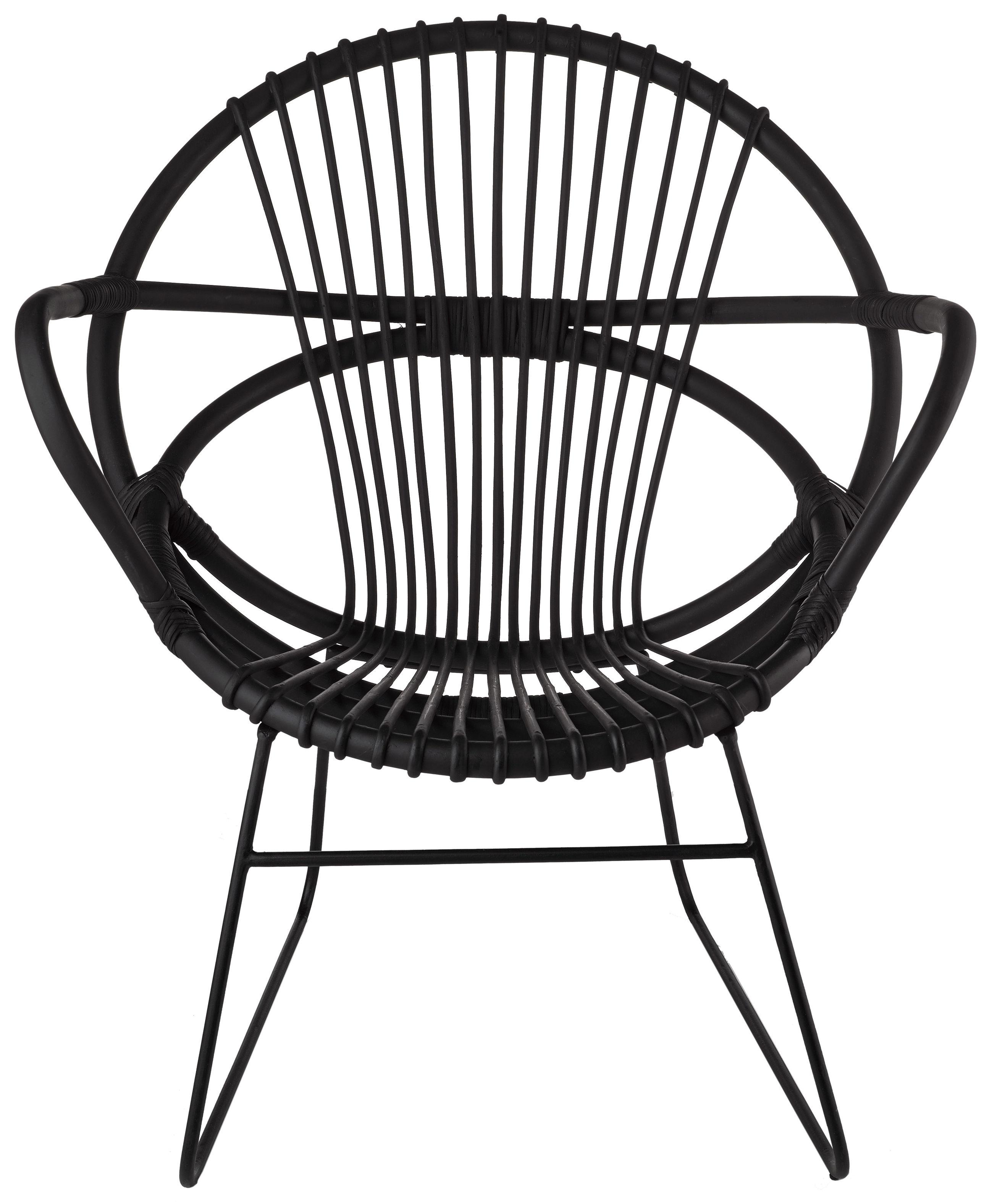 Möbel - Lounge Sessel - Singapore Sessel - Pols Potten - Schwarz / Fußgestell schwarz - bemaltes Metall, Rattan