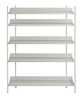 Furniture - Bookcases & Bookshelves - Compile Shelf - / Metal - L 120 x H 136,6 cm by Muuto - Grey - Lacquered steel